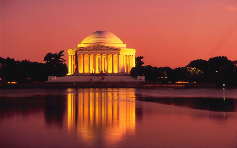 Jefferson Memorial at sunset